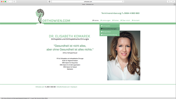 orthowien website by esca